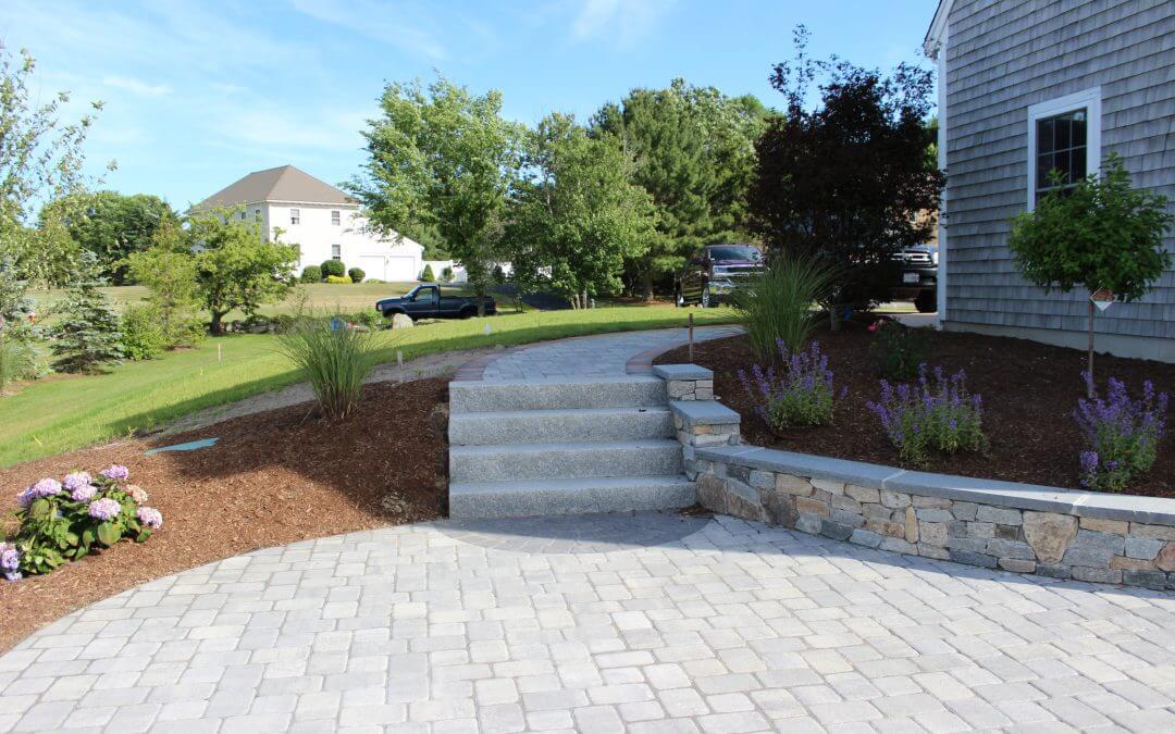 Concrete Wall & Granite Stairway
